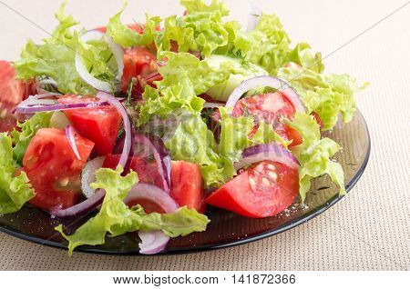 Plate With Vegetable Salad With Fresh Tomatoes, Onion And Lettuce