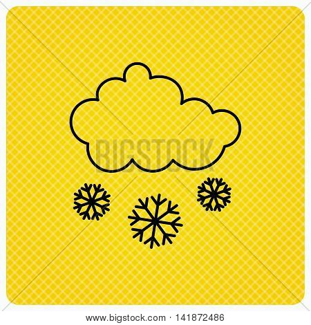 Snow icon. Snowflakes with cloud sign. Snowy overcast symbol. Linear icon on orange background. Vector
