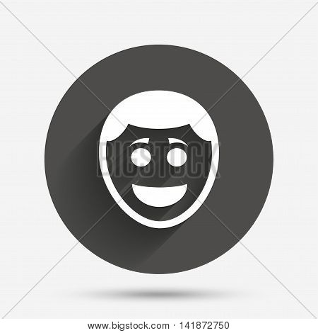 Smile face sign icon. Happy smiley with hairstyle chat symbol. Circle flat button with shadow. Vector