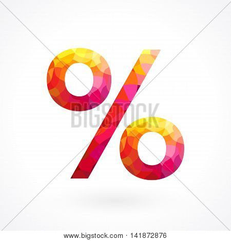 Flamy percentage sign. Red icon for discounts, sales and other businesses.