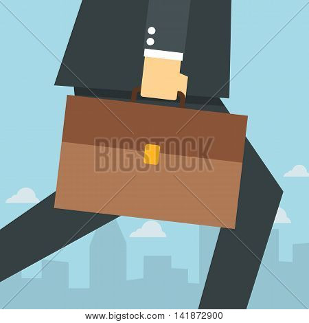 Flat style illustration of businessman walking with a briefcase