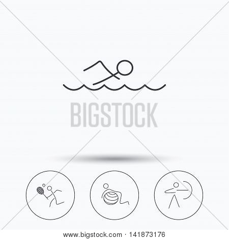 Swimming, tennis and gymnastics icons. Archery linear sign. Linear icons in circle buttons. Flat web symbols. Vector