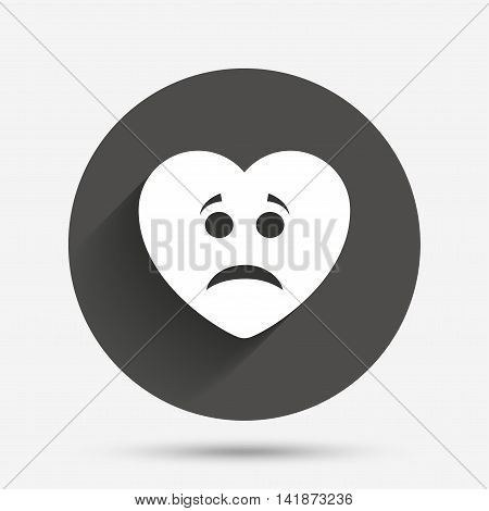 Sad heart face sign icon. Sadness depression chat symbol. Circle flat button with shadow. Vector