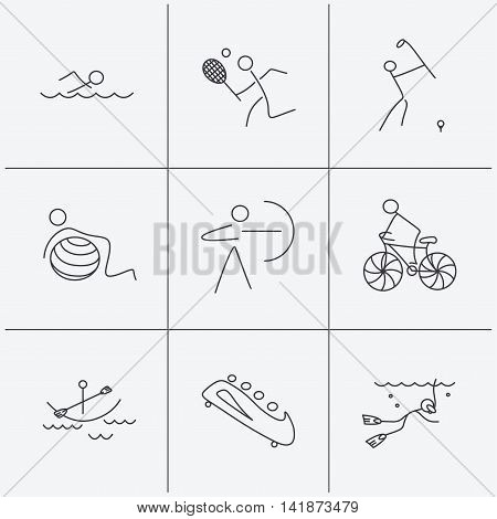 Swimming, tennis and golf icons. Biking, diving and gymnastics linear signs. Archery, boating and bobsleigh icons. Linear icons on white background. Vector