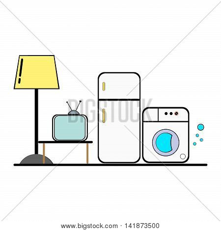 Group of household appliances. Household appliances and electronic devices icons. Home appliances. Set of household kitchen technics isolated on white. Fridge tv lamp and washing machine