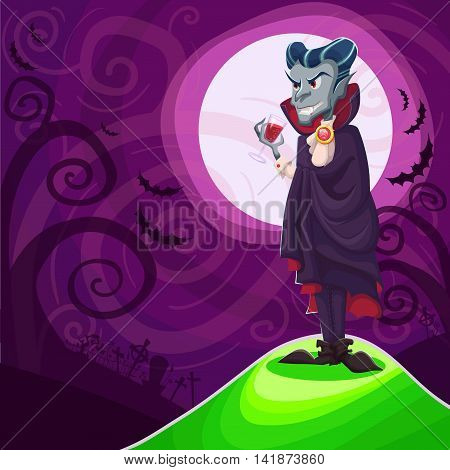 Ampire Dracula For Halloween. Vector Poster Background