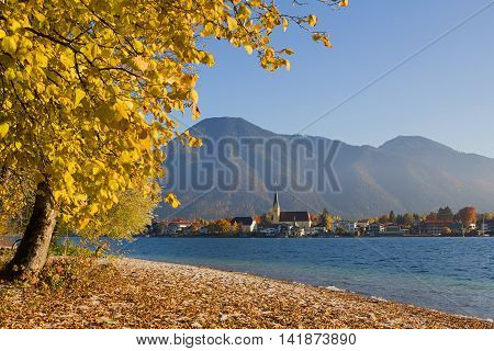 Lake Shore Tegernsee In Autumn With View To Rottach-egern, Upper Bavaria