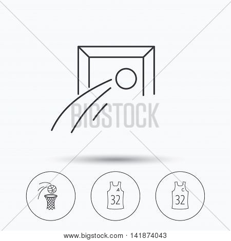 Football, basketball and team captain icons. Team assistant linear sign. Linear icons in circle buttons. Flat web symbols. Vector