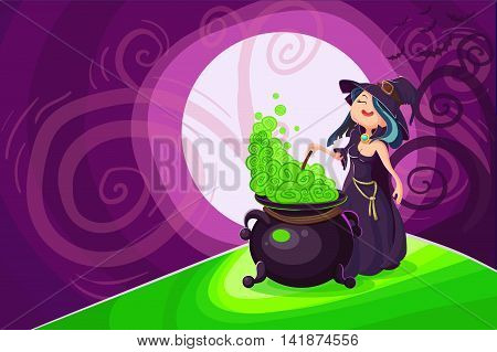 Cute Young Witch For Halloween Cards. Vector Illustration