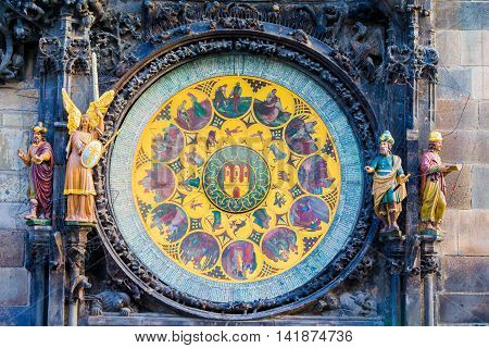 Astronomical Clock-Orloj close-up in Prague, Czech Republic, Europe. Vintage style. Prague clock tower detail.