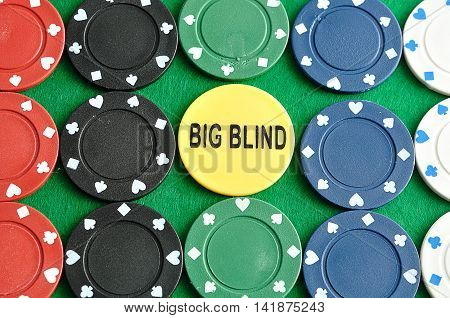 Rows of poker chips with a big blind chip