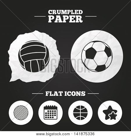 Crumpled paper speech bubble. Sport balls icons. Volleyball, Basketball, Soccer and Golf signs. Team sport games. Paper button. Vector