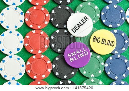 Rows of poker chips with a dealer big blind and small blind chips displayed on top