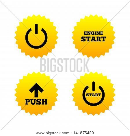 Power icons. Start engine symbol. Push or Press arrow sign. Yellow stars labels with flat icons. Vector
