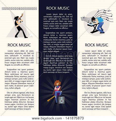 Set of templates of banners with rock musicians playing different instruments with space for text vector illustration
