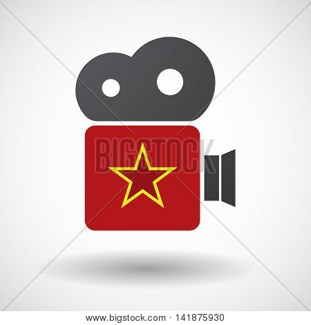 Isolated Retro Cinema Camera Icon With  The Red Star Of Communism Icon