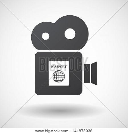 Isolated Retro Cinema Camera Icon With  A Passport