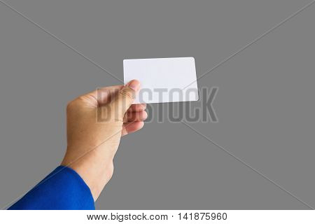 Isolated Hand Give Or Show Blank Business Card Or Name Card