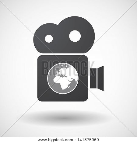 Isolated Retro Cinema Camera Icon With   An Asia, Africa And Europe Regions World Globe