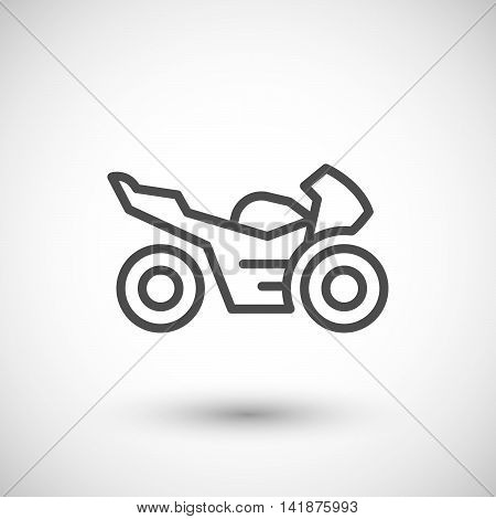 Sport motorcycle line icon isolated on grey. Vector illustration
