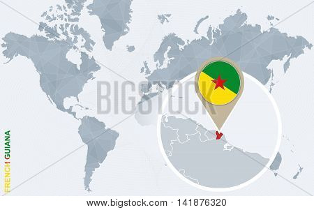 Abstract Blue World Map With Magnified French Guiana.