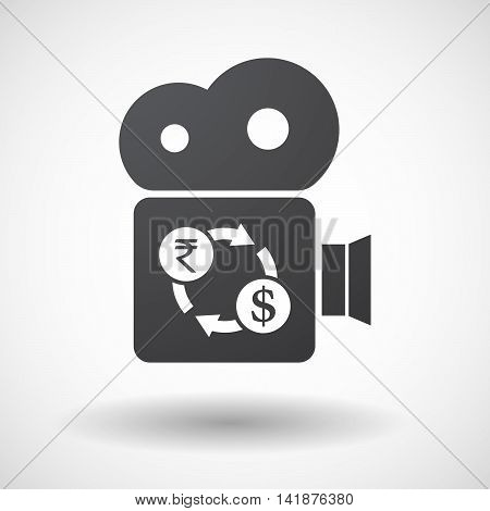 Isolated Retro Cinema Camera Icon With  A Rupee And Dollar Exchange Sign