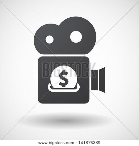 Isolated Retro Cinema Camera Icon With  A Dollar Coin Entering In A Moneybox
