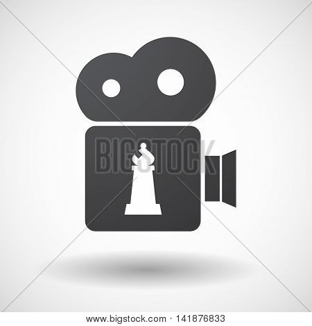 Isolated Retro Cinema Camera Icon With A Bishop    Chess Figure