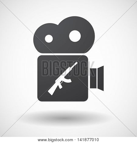 Isolated Retro Cinema Camera Icon With  A Machine Gun Sign