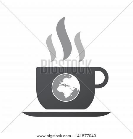 Isolated Coffee Cup Icon With   An Asia, Africa And Europe Regions World Globe