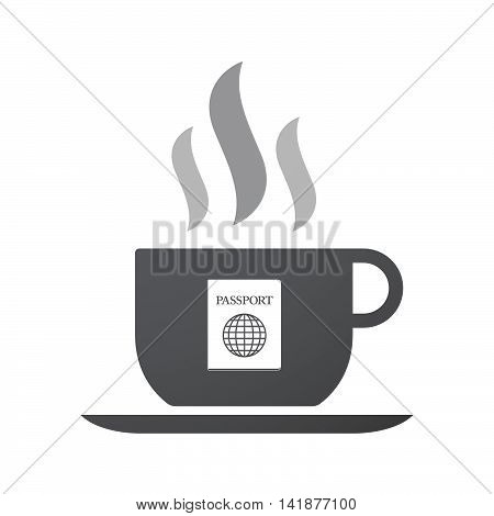 Isolated Coffee Cup Icon With  A Passport