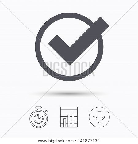 Tick icon. Check or confirm symbol. Stopwatch, chart graph and download arrow. Linear icons on white background. Vector