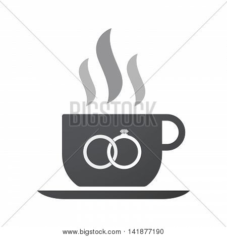 Isolated Coffee Cup Icon With  Two Bonded Wedding Rings