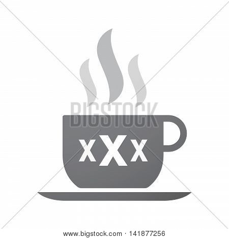 Isolated Coffee Cup Icon With  A Xxx Letter Icon
