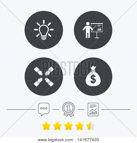 Presentation billboard icon. Dollar cash money and lamp idea signs. Man standing with pointer. Teamwork symbol. Chat, award medal and report linear icons. Star vote ranking. Vector