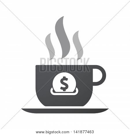 Isolated Coffee Cup Icon With  A Dollar Coin Entering In A Moneybox