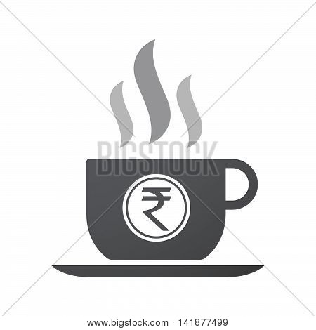 Isolated Coffee Cup Icon With  A Rupee Coin Icon
