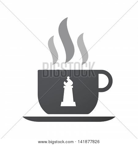 Isolated Coffee Cup Icon With A Bishop    Chess Figure