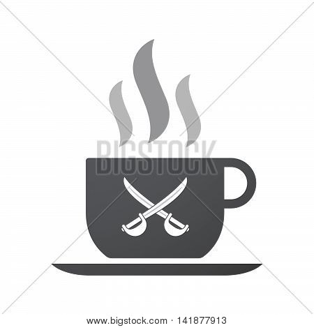 Isolated Coffee Cup Icon With  Two Swords Crossed
