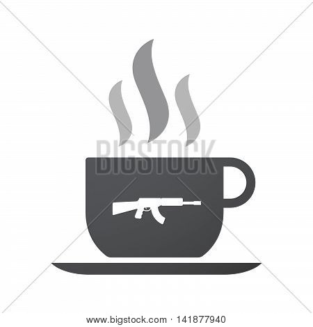 Isolated Coffee Cup Icon With  A Machine Gun Sign