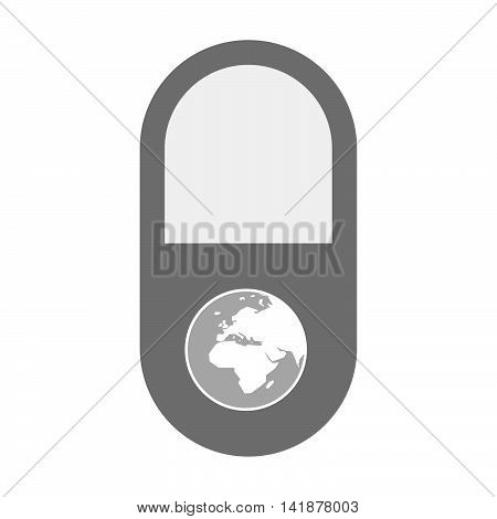 Isolated Pill Icon With   An Asia, Africa And Europe Regions World Globe