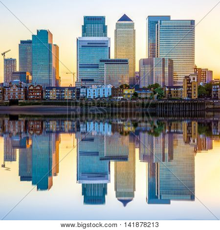 Canary Wharf In London At Sunset