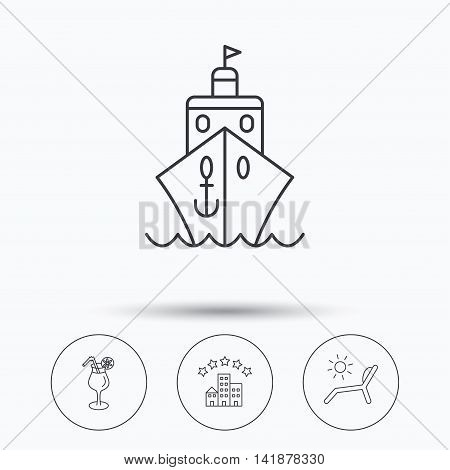 Cruise, waves and cocktail icons. Hotel, deck chair linear signs. Linear icons in circle buttons. Flat web symbols. Vector