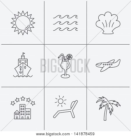 Cruise, waves and cocktail icons. Hotel, palm tree and shell linear signs. Airplane, deck chair and sun flat line icons. Linear icons on white background. Vector