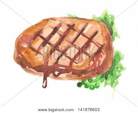 Watercolor grilled steak. Steak with herbs and sauce. Delicious food for restaurant or cafe.