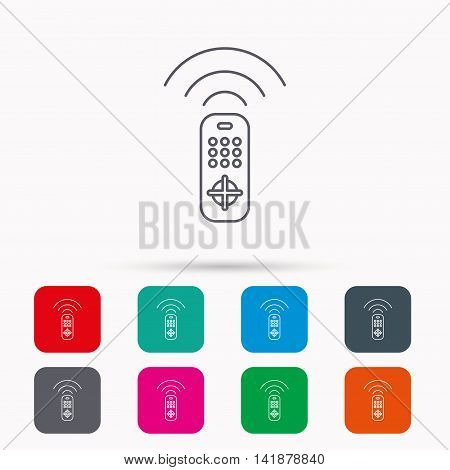 Remote control icon. TV switching channels sign. Linear icons in squares on white background. Flat web symbols. Vector