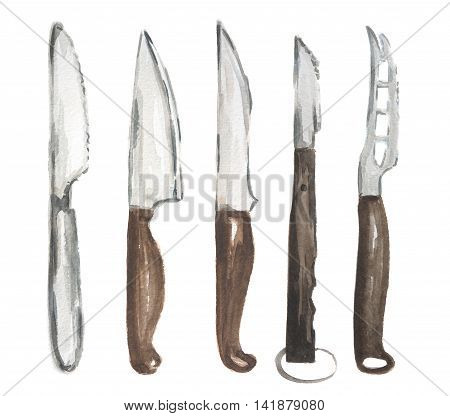 Watercolor knives set. Various types of knives on white bcakground. Home, restaurant or cafe equipment.