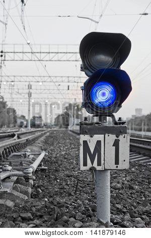 Blue Semaphore Signal On The Railway
