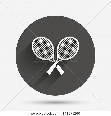 Tennis rackets sign icon. Sport symbol. Circle flat button with shadow. Vector