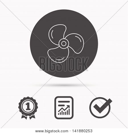 Ventilation icon. Fan or propeller sign. Report document, winner award and tick. Round circle button with icon. Vector